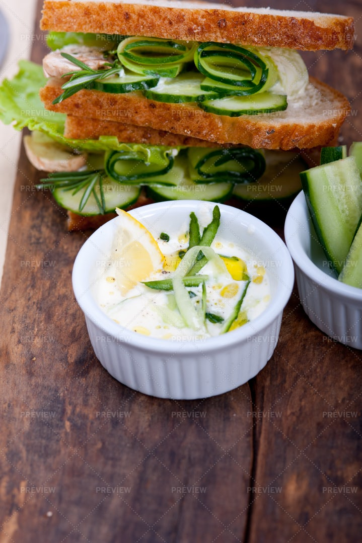Fresh Vegetarian Sandwich: Stock Photos