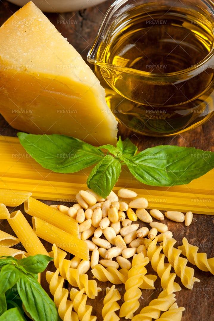 Ingredients For Pesto Pasta: Stock Photos