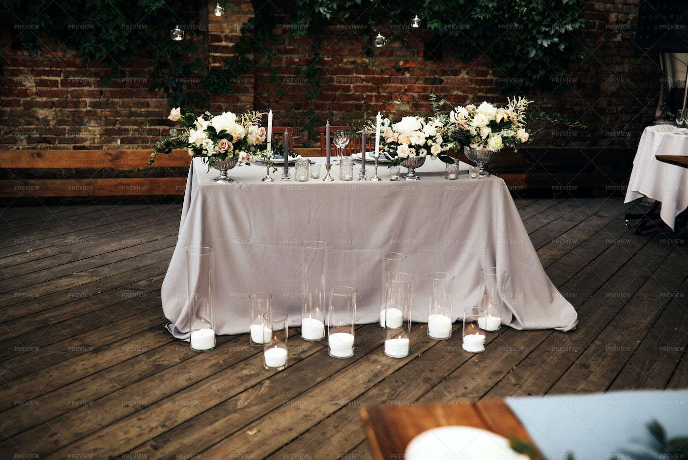 Candles On The Wedding Table: Stock Photos