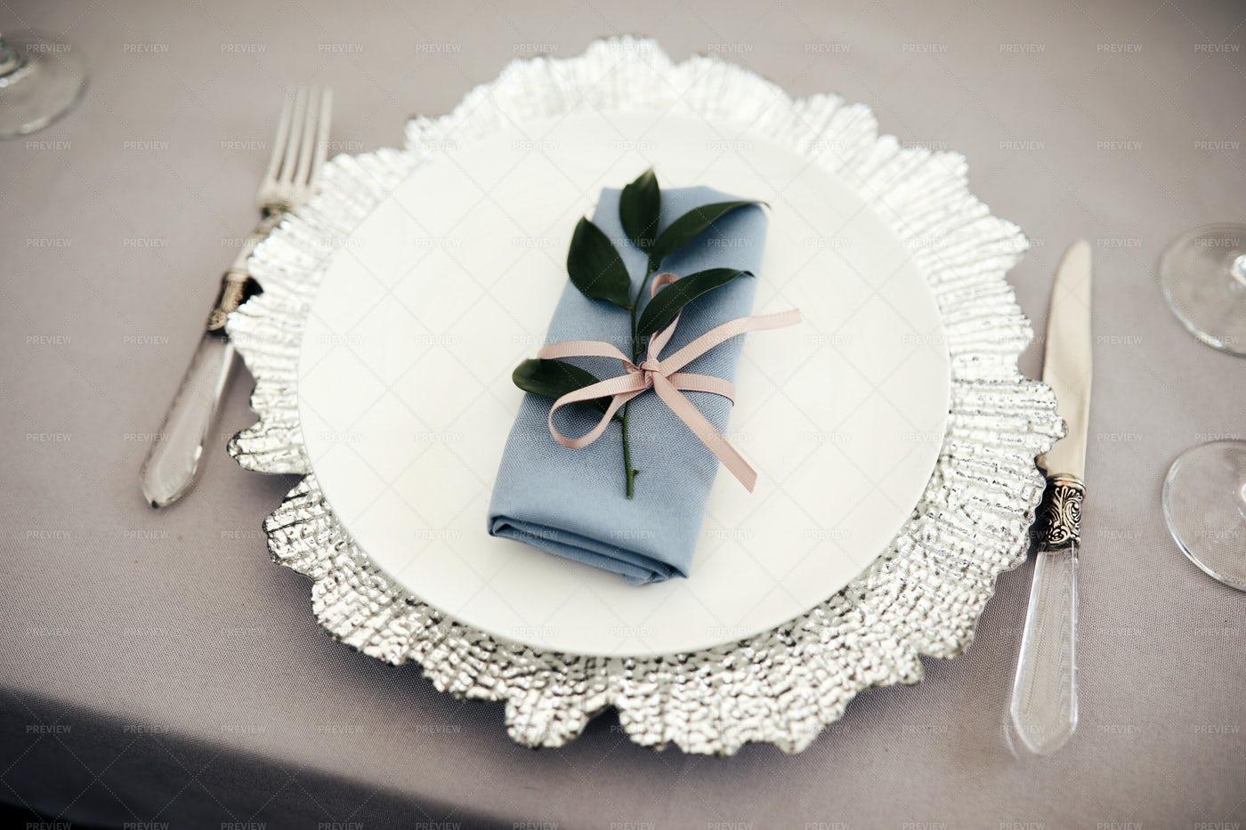 Napkin On A White Plate: Stock Photos