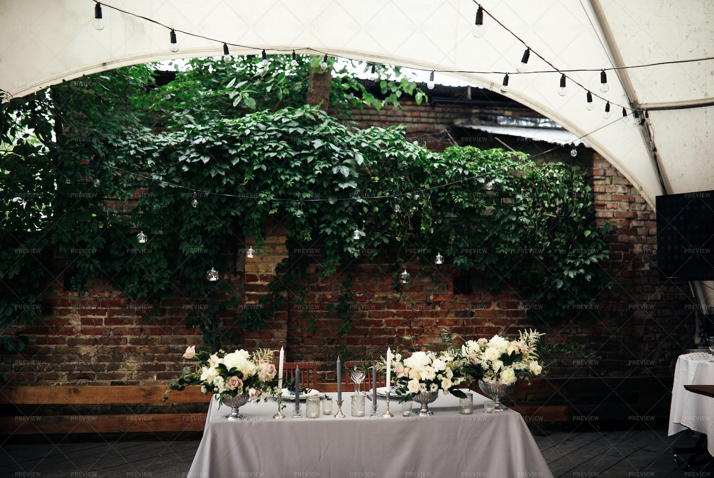 Wedding Table With Flowers: Stock Photos
