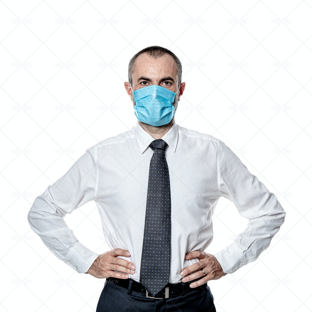 Businessman In A Surgical Mask: Stock Photos