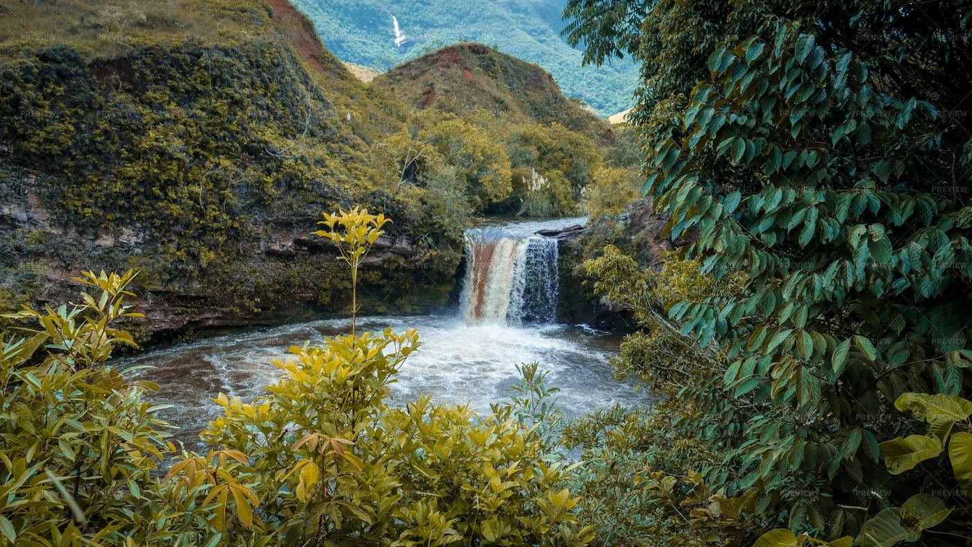 Wild Waterfall In Brazil: Stock Photos