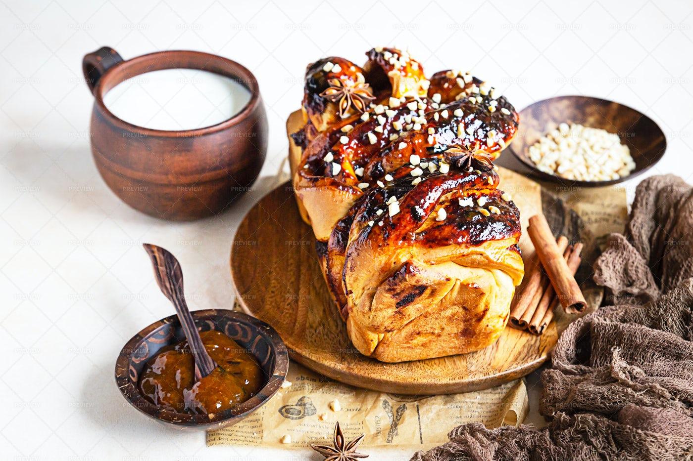Apricot Jam Twisted Babka: Stock Photos