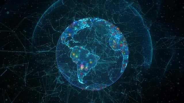 Social Media Earth Hologram: Stock Motion Graphics