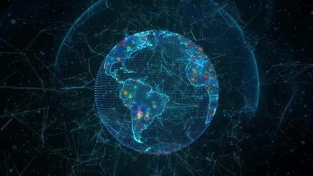 Social Media Earth Hologram: Stock Motion Graphics