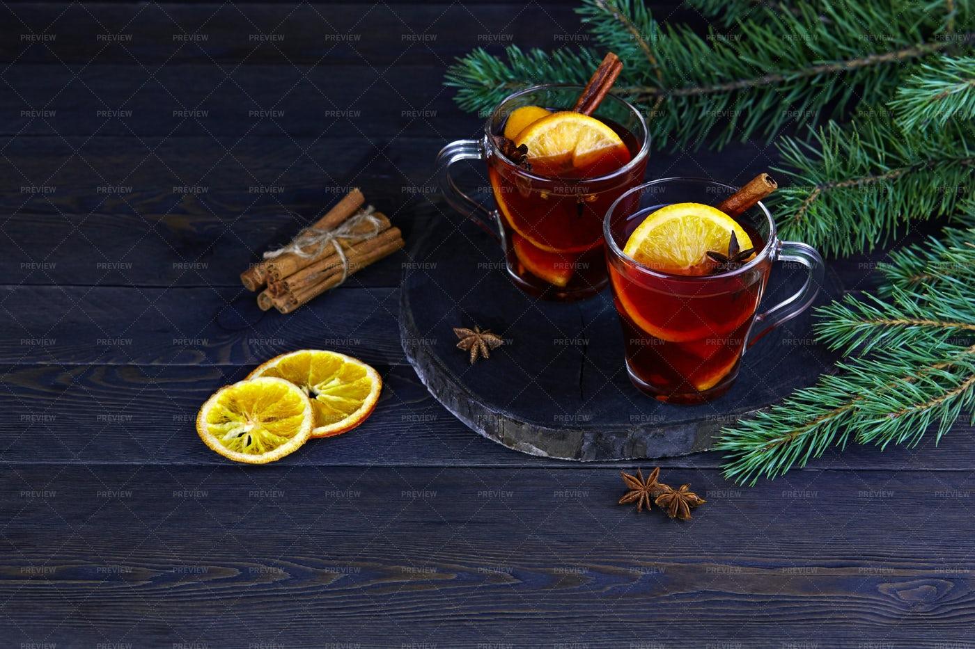 Mulled Wine With Orange: Stock Photos