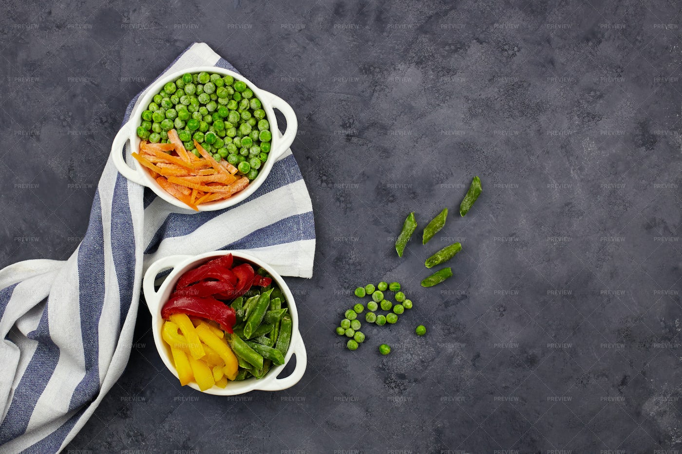 Tasty Vegetables In Bowls: Stock Photos