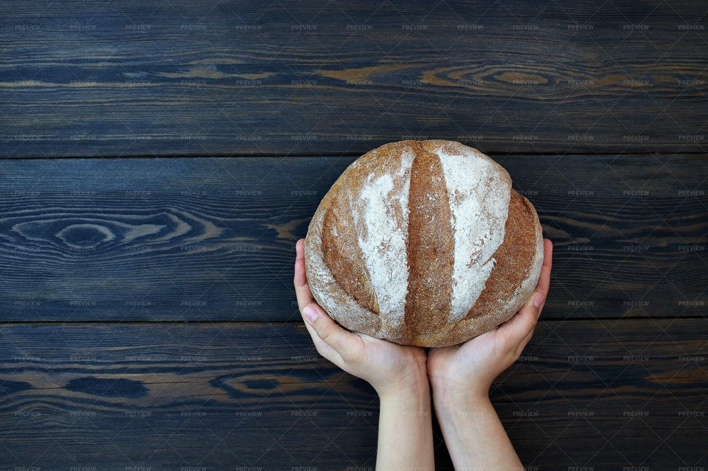 Bread In Hands: Stock Photos