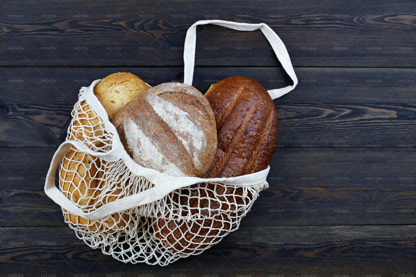 String Bag Of A Bread Assortment: Stock Photos