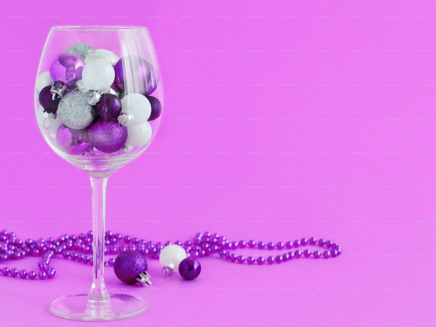 Christmas Baubles On Purple: Stock Photos