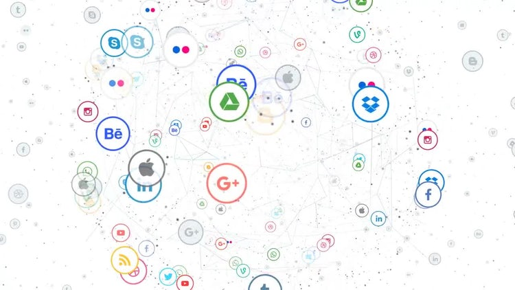 Social Networks Icons Planet: Stock Motion Graphics