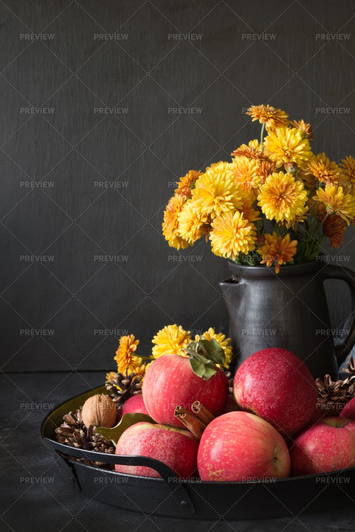 Apple And Flowers Harvest: Stock Photos