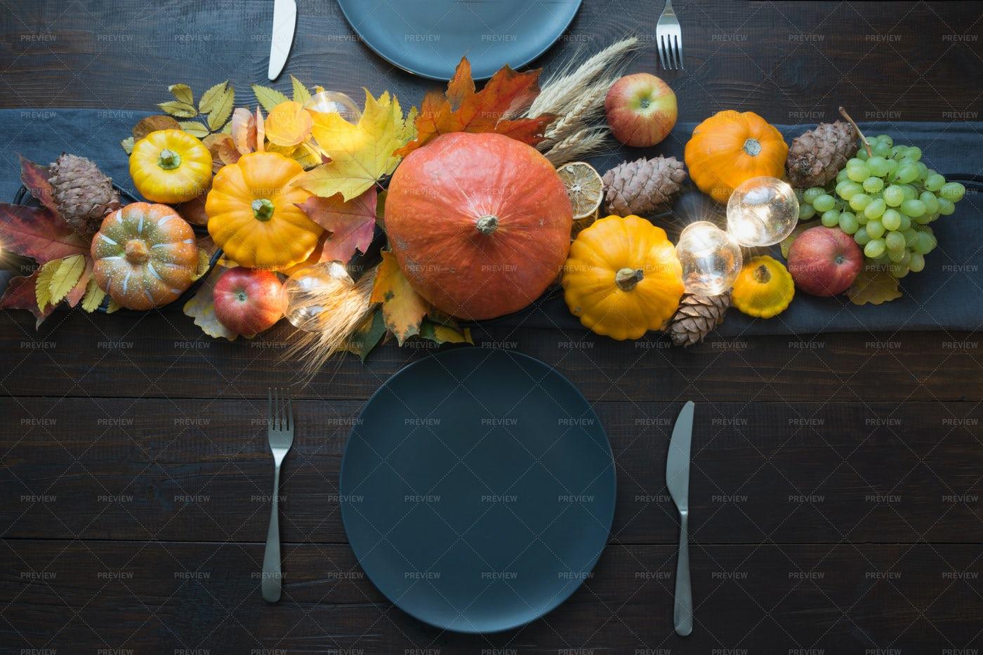 Table Set Up During Autumn: Stock Photos