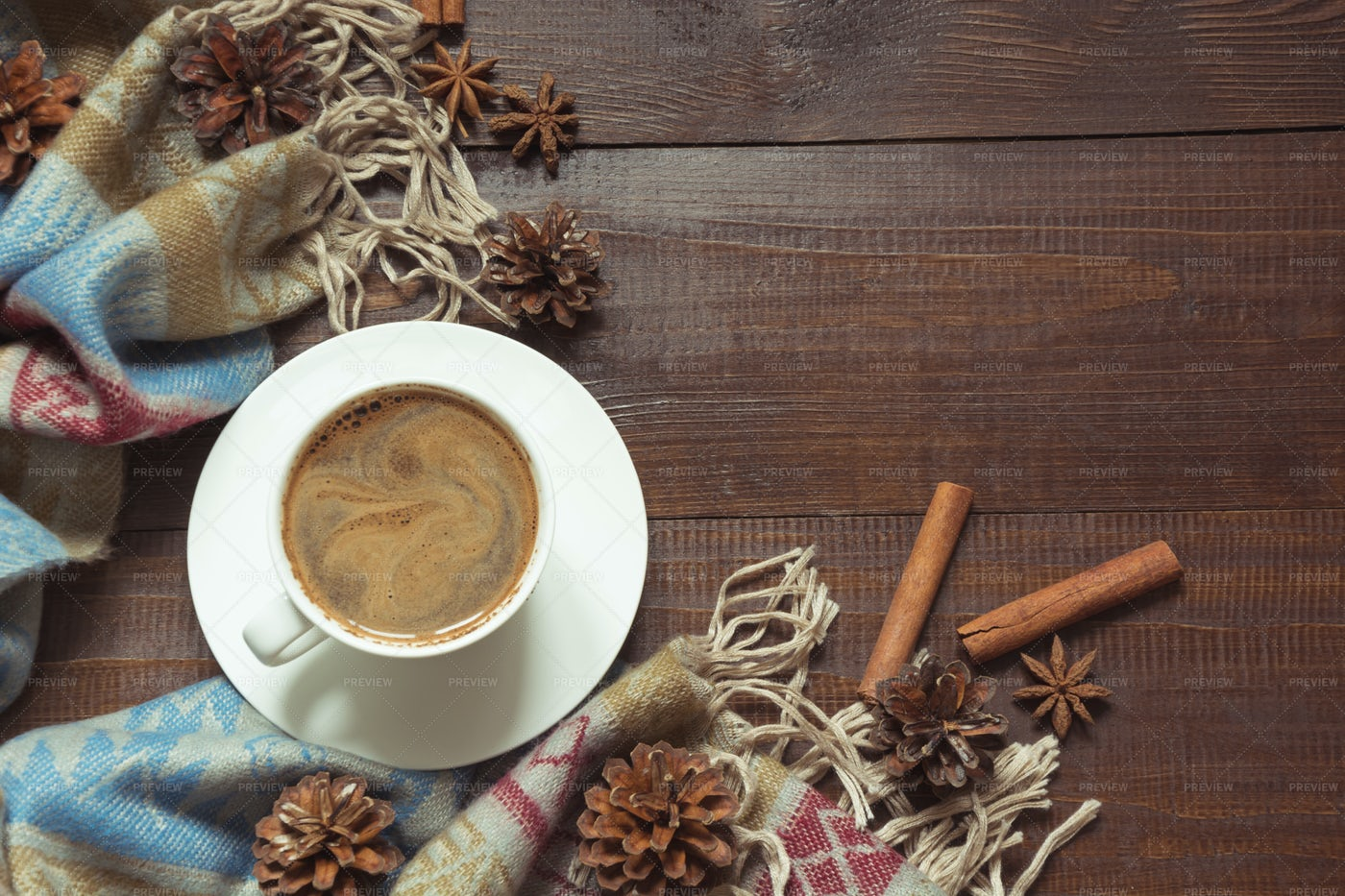 Coffee And Scarf: Stock Photos