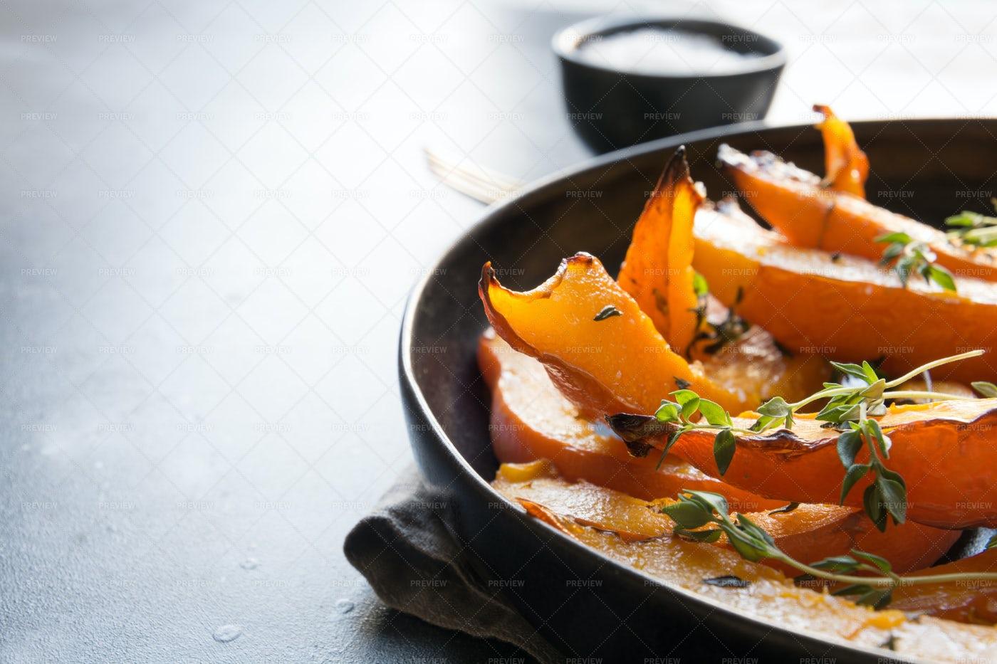 Roasted Sliced Pumpkins: Stock Photos
