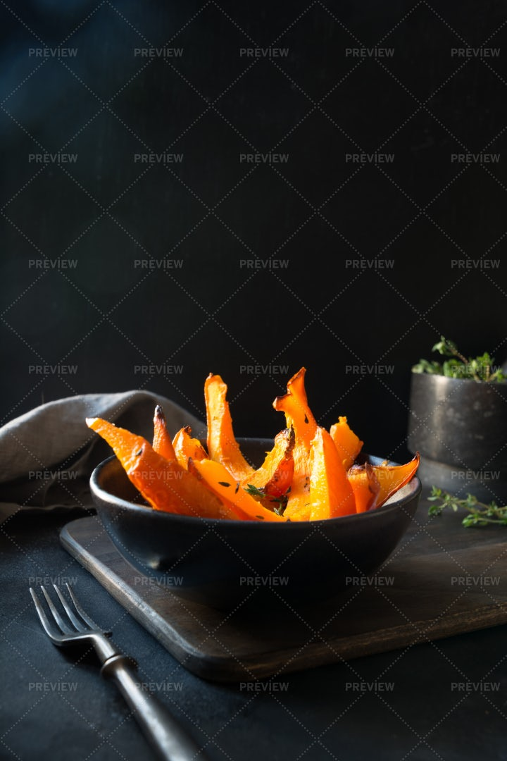 Baked Pumpkins With Thyme: Stock Photos