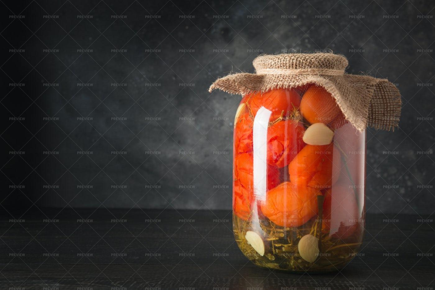 Homemade Marinated Tomatoes.: Stock Photos