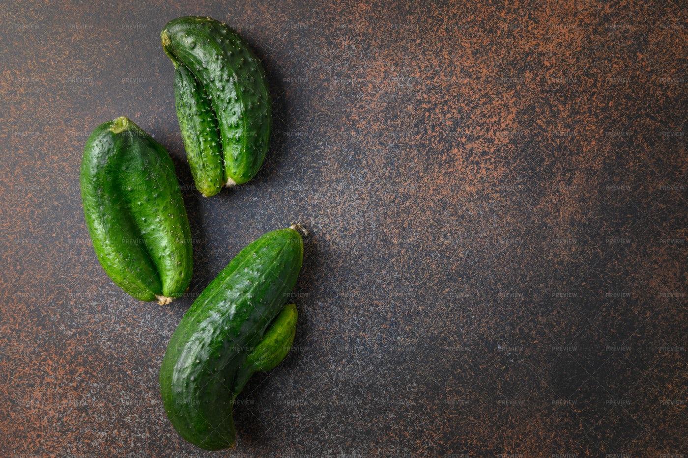 Ugly Organic Cucumbers: Stock Photos