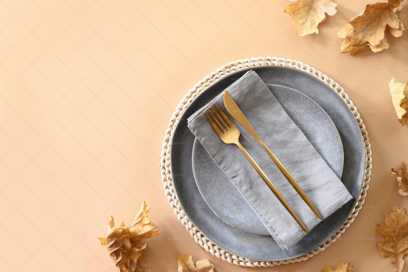 Fall Table Setting: Stock Photos