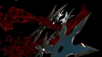Shuriken And Blood Trails Background: Motion Graphics