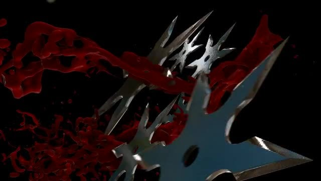 Shuriken And Blood Trails Background: Stock Motion Graphics