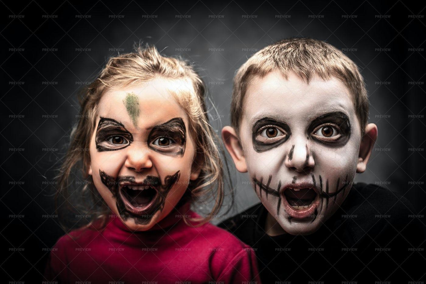 Kids Ready For Halloween: Stock Photos