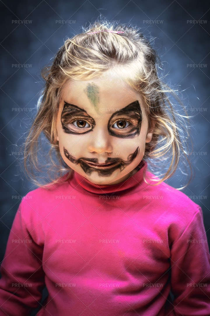 Girl With Face Paint: Stock Photos