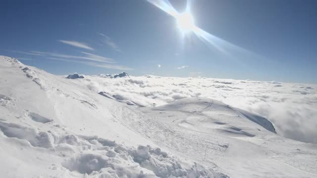 Clouds Drifts On Mountain: Stock Video