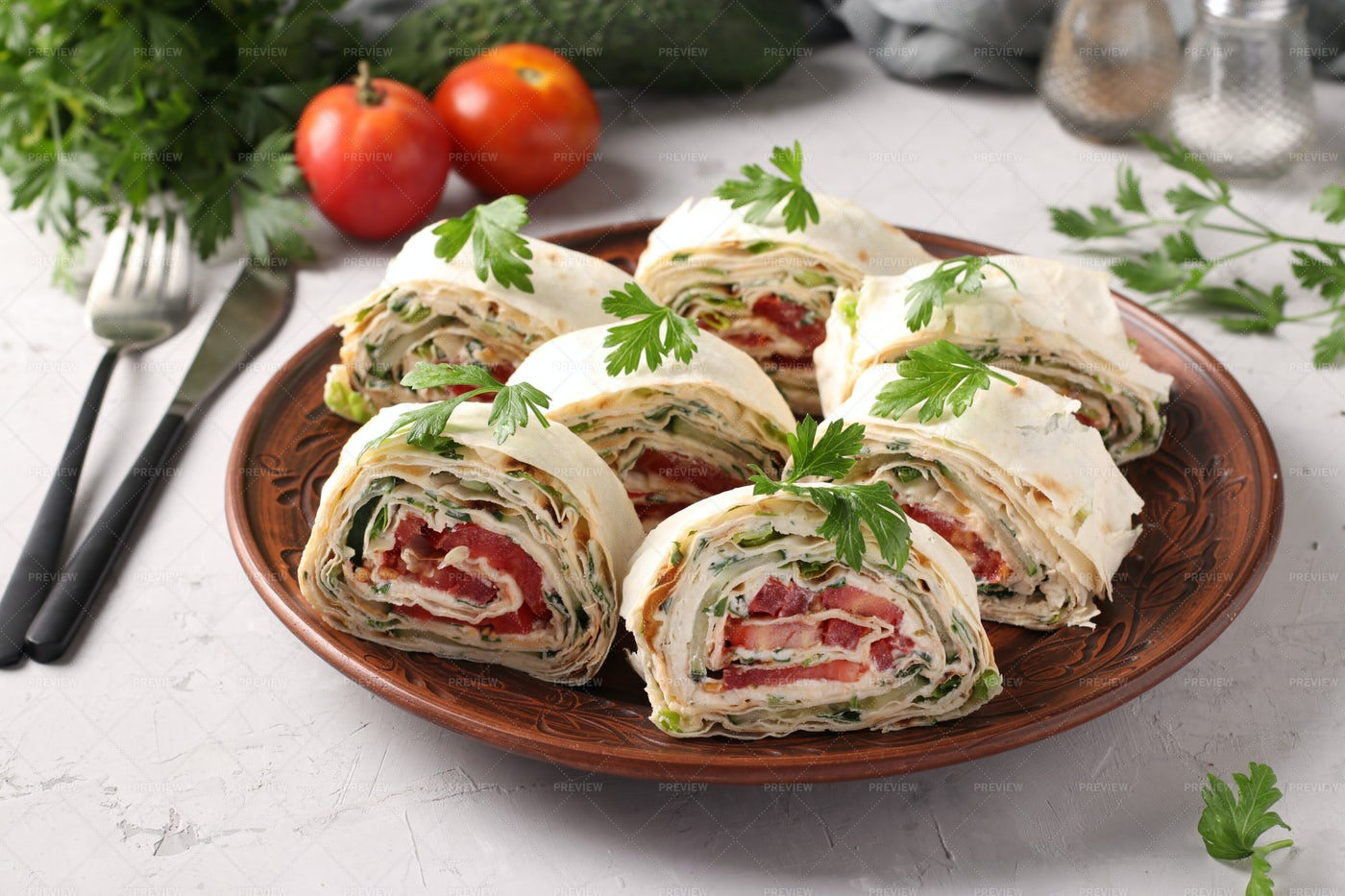 Lavash Roll With Vegetables: Stock Photos