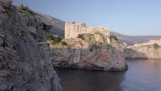 Panning Shot Of Old Fortress : Stock Footage