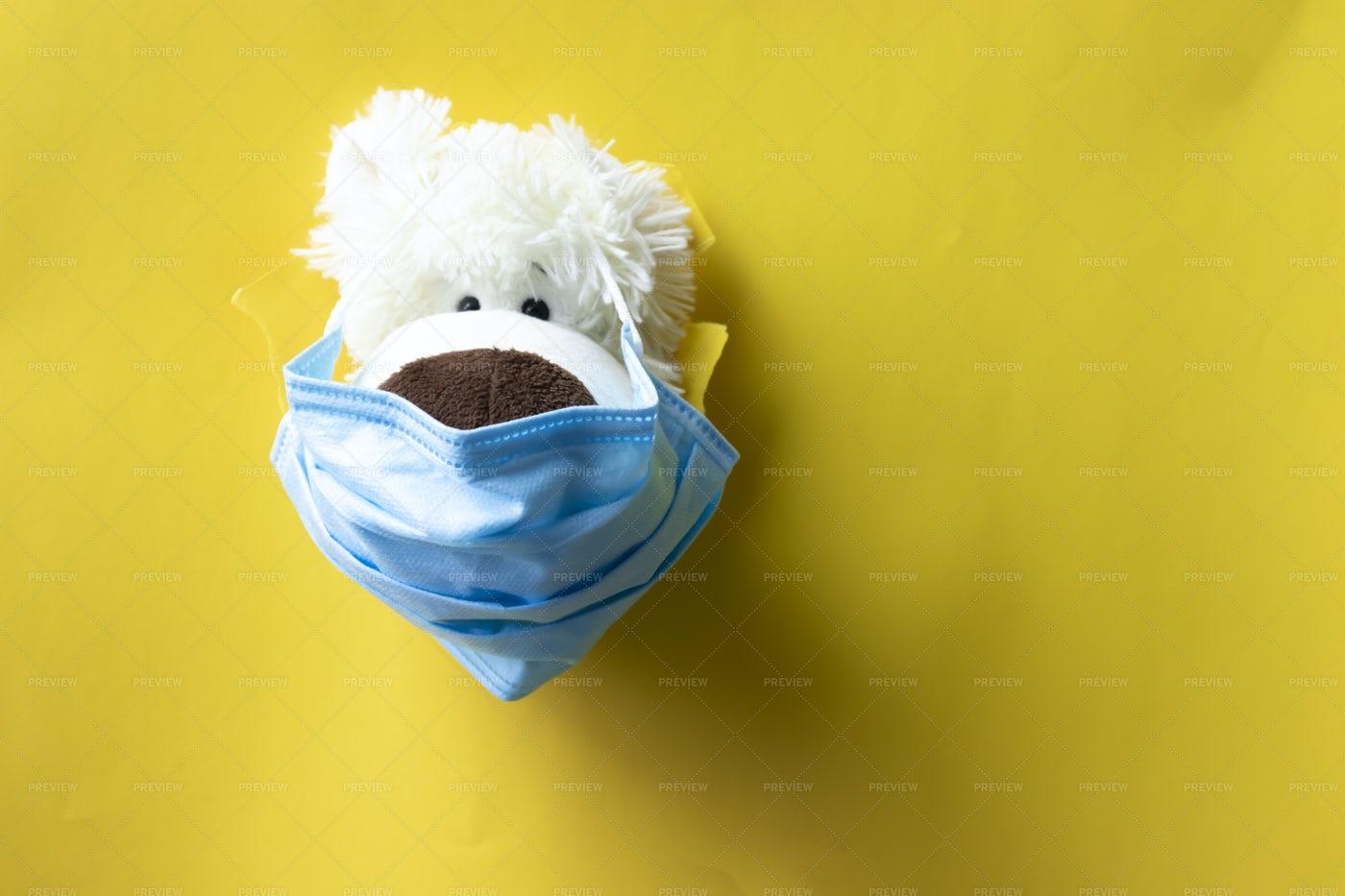 Teddy In Medical Mask: Stock Photos