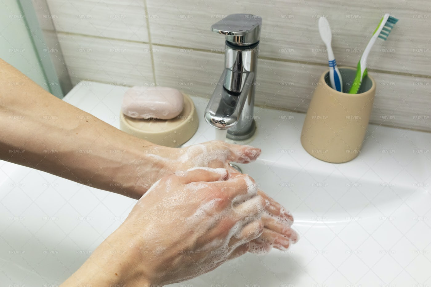 Person Washes His Hands: Stock Photos