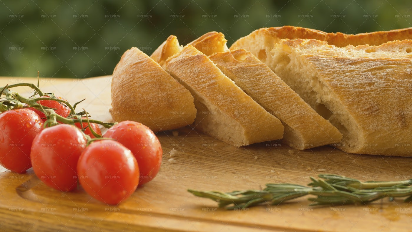 Tomatoes And Bread: Stock Photos