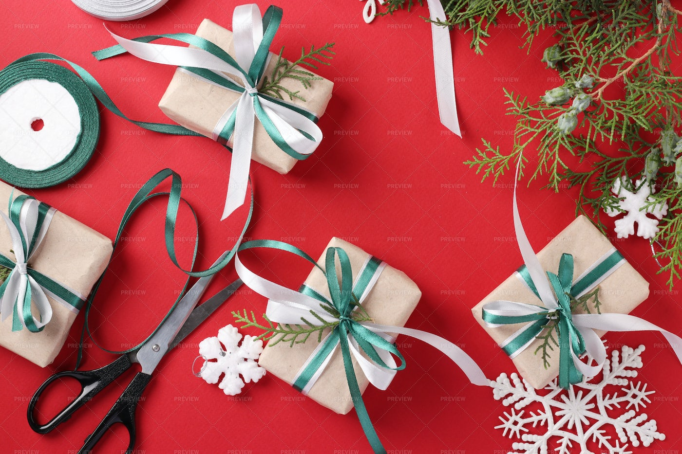 Decorating Gifts With Ribbons: Stock Photos