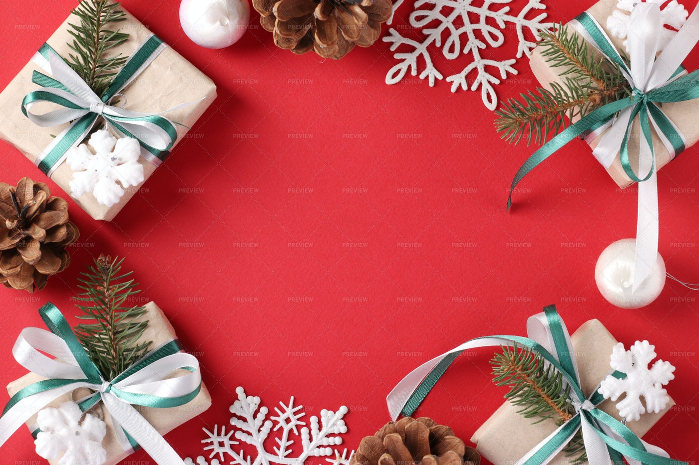 Christmas Frame With Gifts: Stock Photos