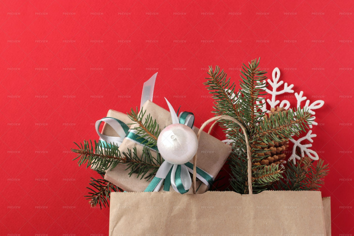 Gifts In Kraft Paper: Stock Photos