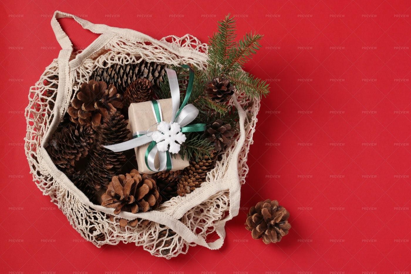 Bag And Christmas Deco: Stock Photos