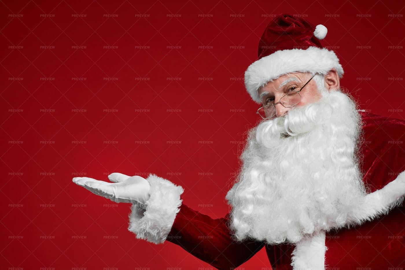 Santa Gesturing A Sign: Stock Photos