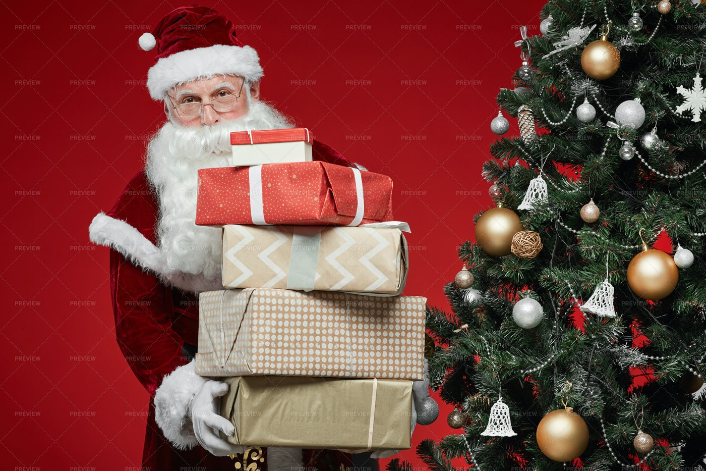 Santa Claus With Gifts: Stock Photos