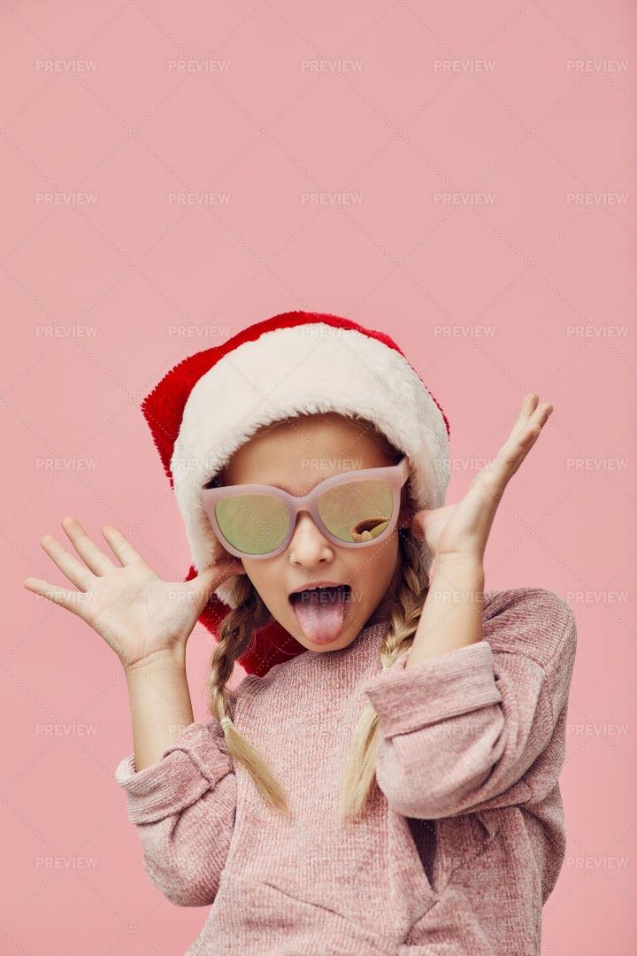 Funny Girl In Santa Hat: Stock Photos