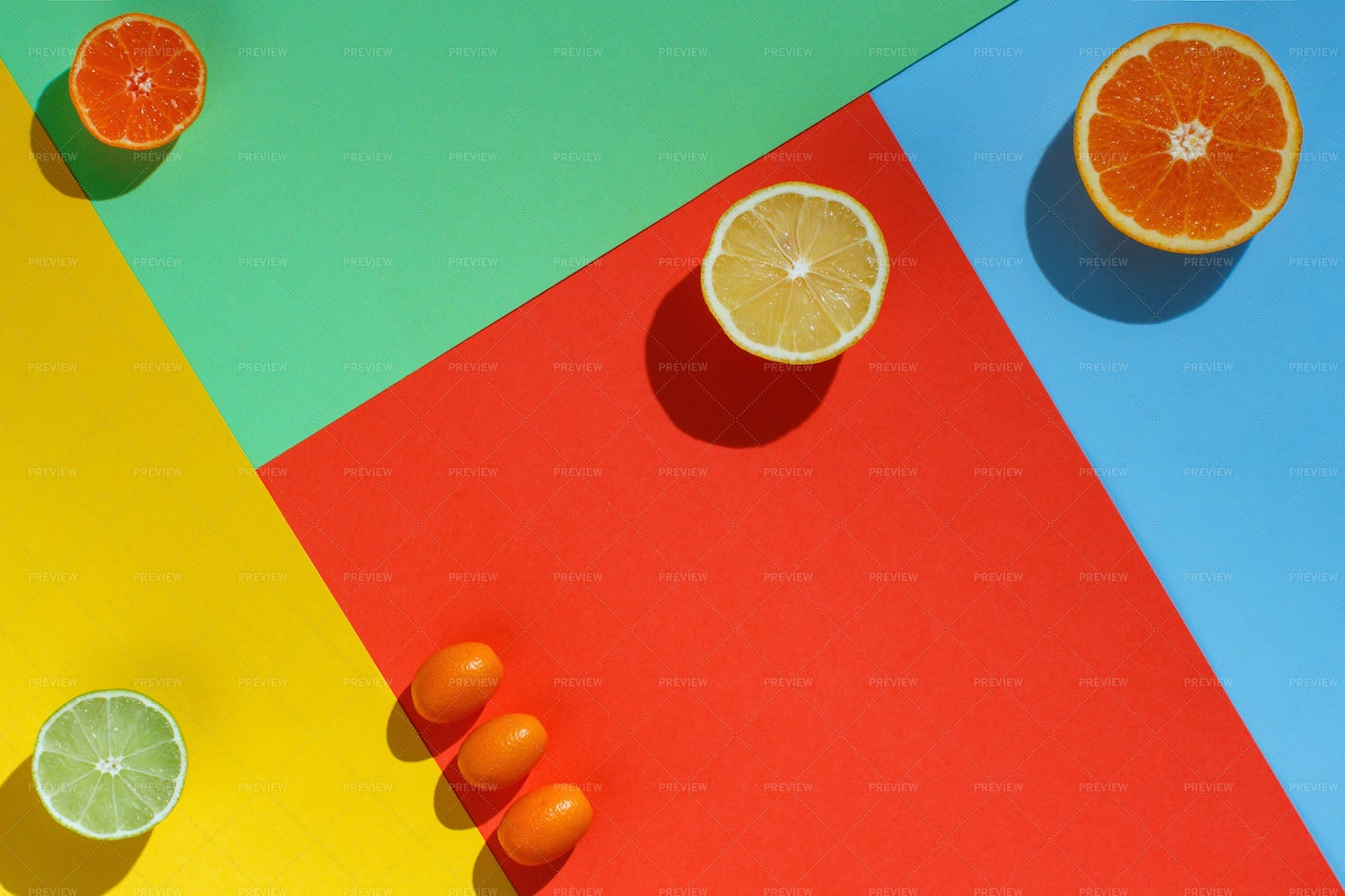 Colorful Papers And Citrus: Stock Photos