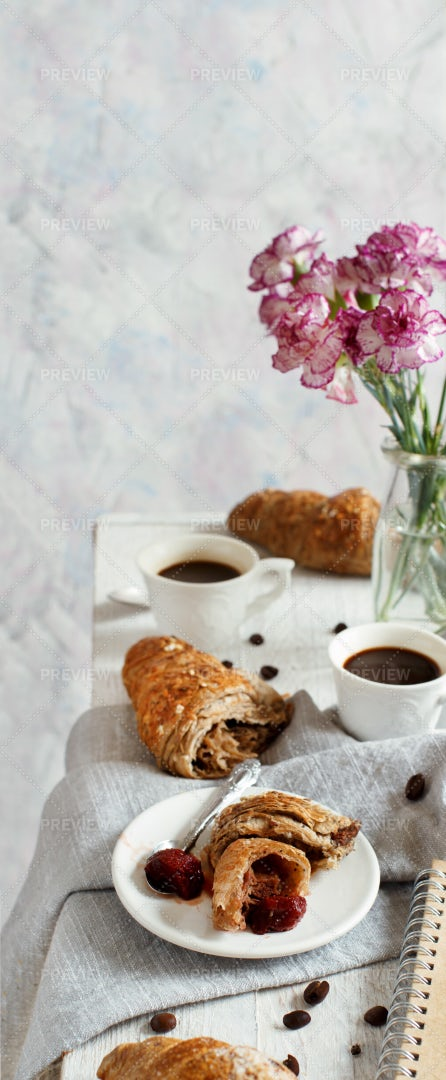 Coffee And Croissants: Stock Photos