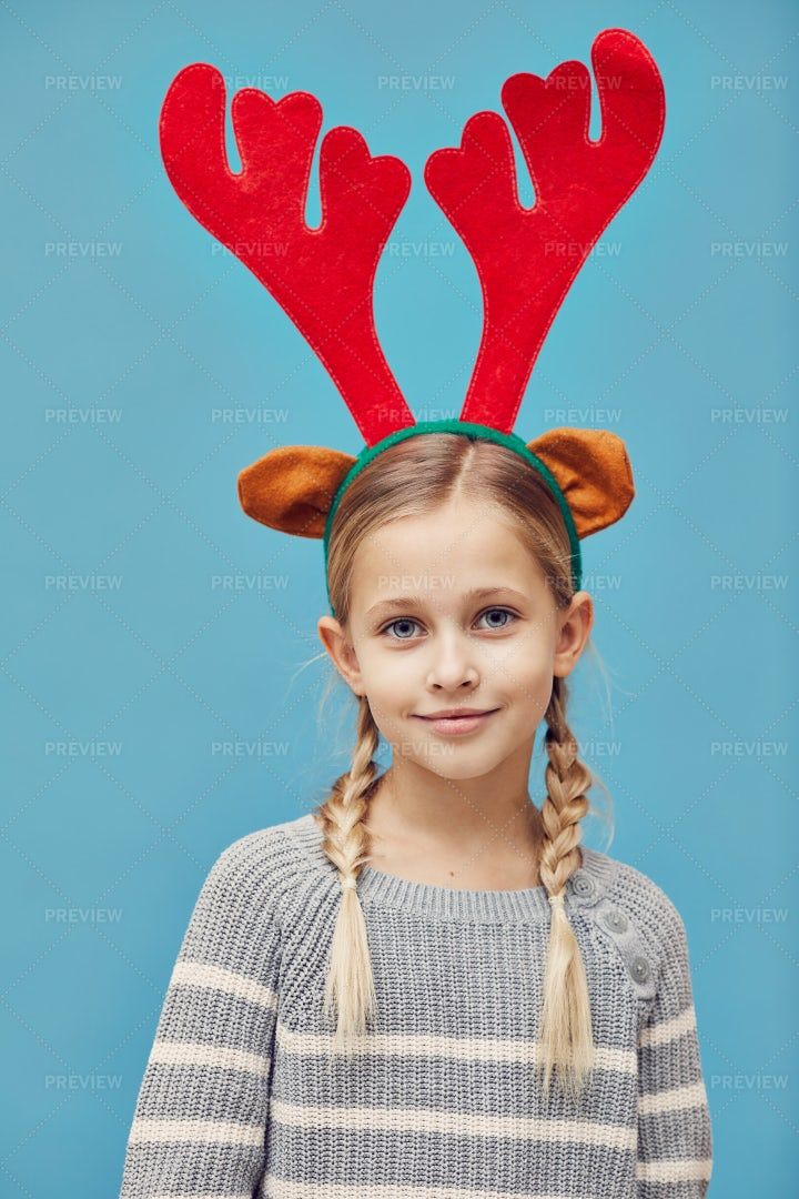 Girl With Deer Antlers: Stock Photos