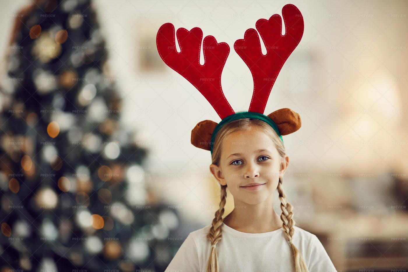 Girl In Deer Antlers: Stock Photos