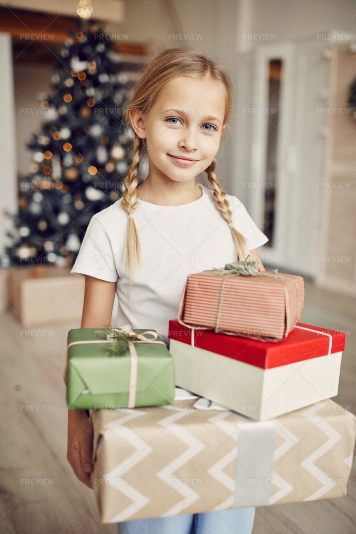 Girl With Presents: Stock Photos