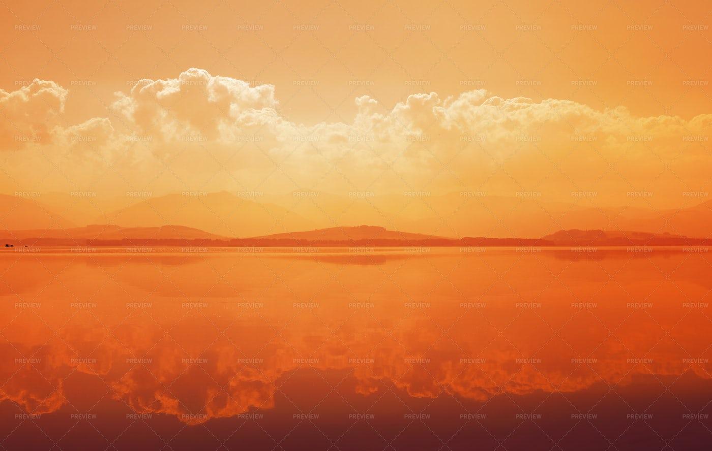 Sunset Over Mountain Lake: Stock Photos