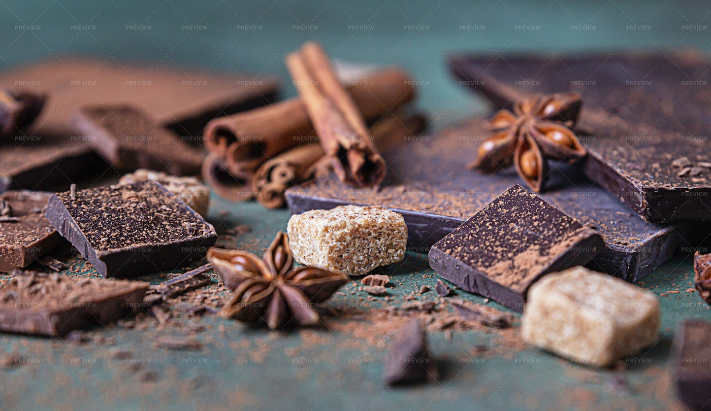 Chocolate And Spices: Stock Photos