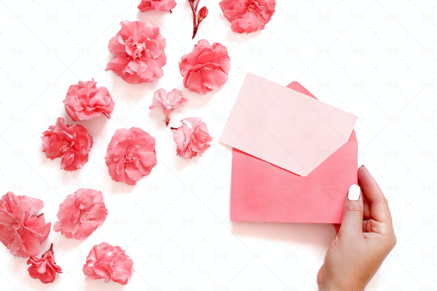 Hand With Pink Envelope: Stock Photos