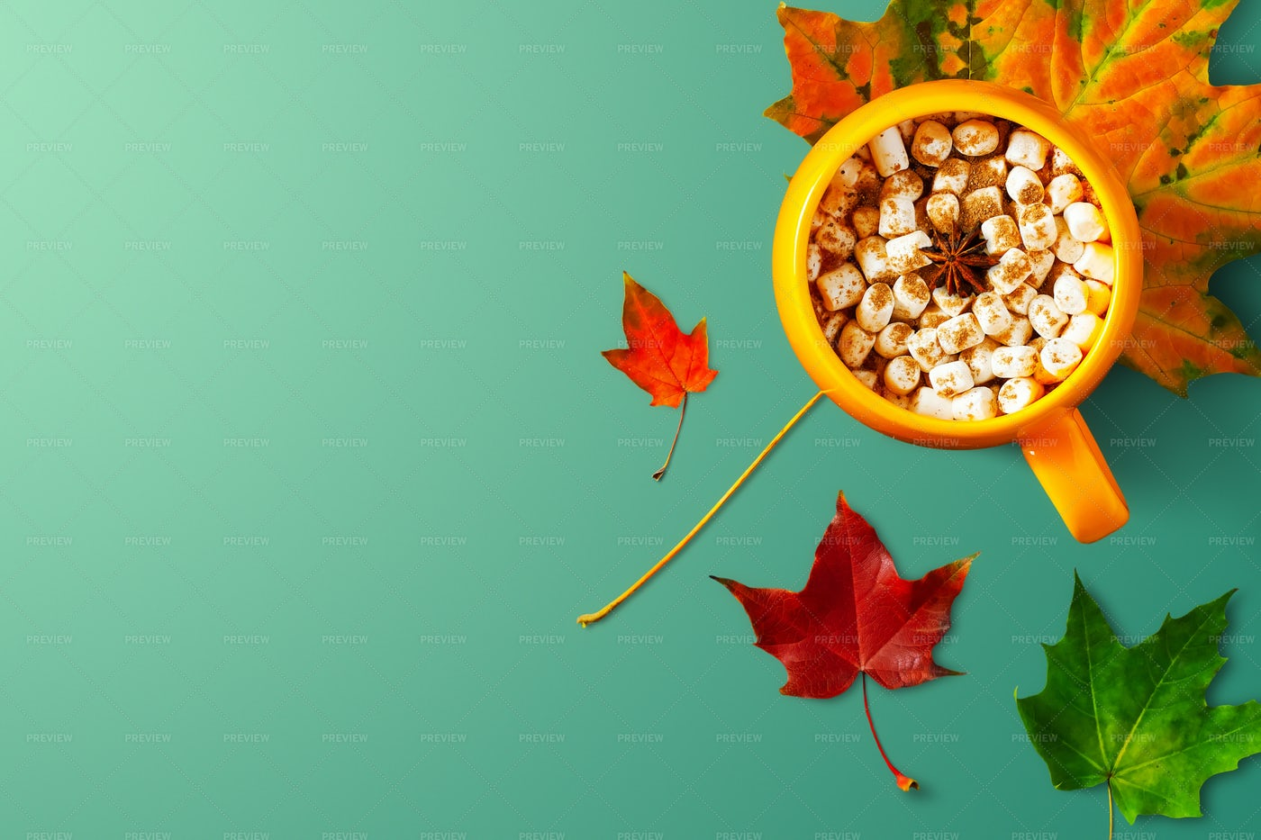 Leaves With Hot Drink: Stock Photos